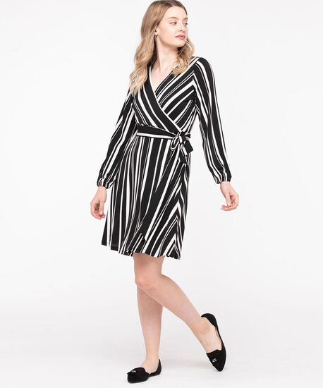 Asymmetrical Stripe Faux Wrap Dress, Black/Pearl, hi-res