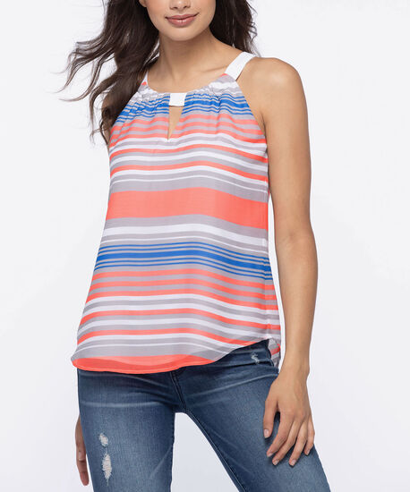 Keyhole Halter-Style Blouse, Tangerine/Cerulean/White, hi-res
