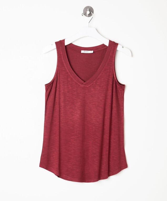 Sleeveless V-Neck Tank Top, Paprika, hi-res
