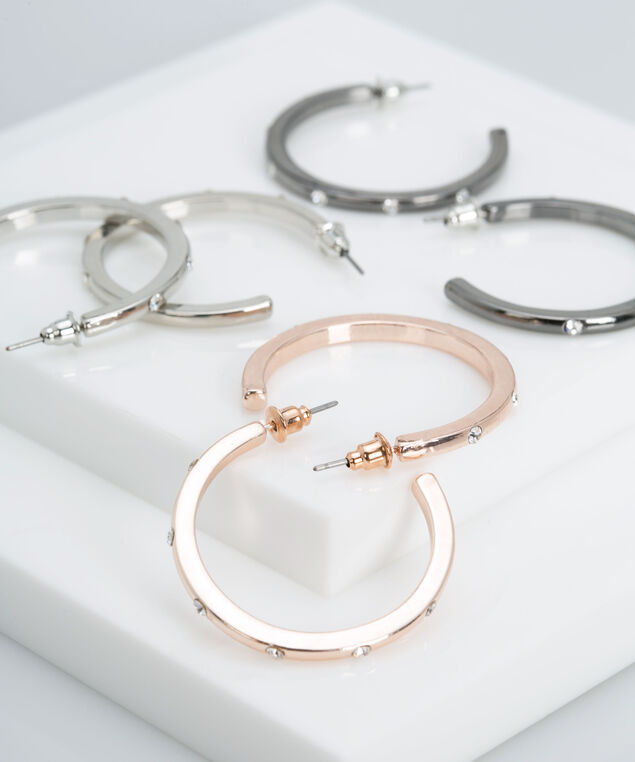 Mixed Metal Hoop Earring Set, Rhodium/Rose Gold/Hematite, hi-res