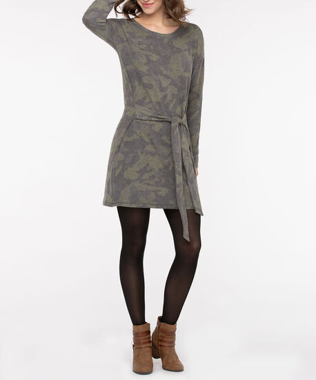 Brushed Camo Tie-Waist Sweater Dress, Autumn Olive/Grey, hi-res