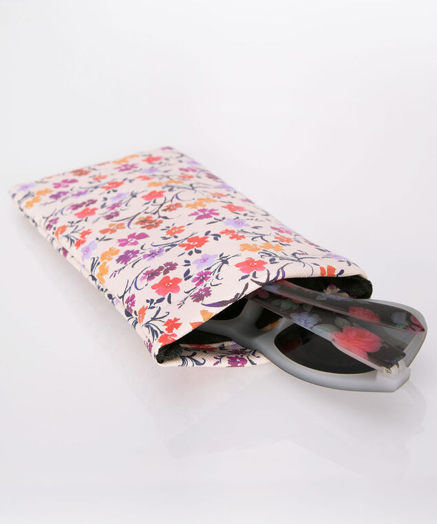 Shades & Flowers Sunglass Case, Pink/Orange/Purple, hi-res
