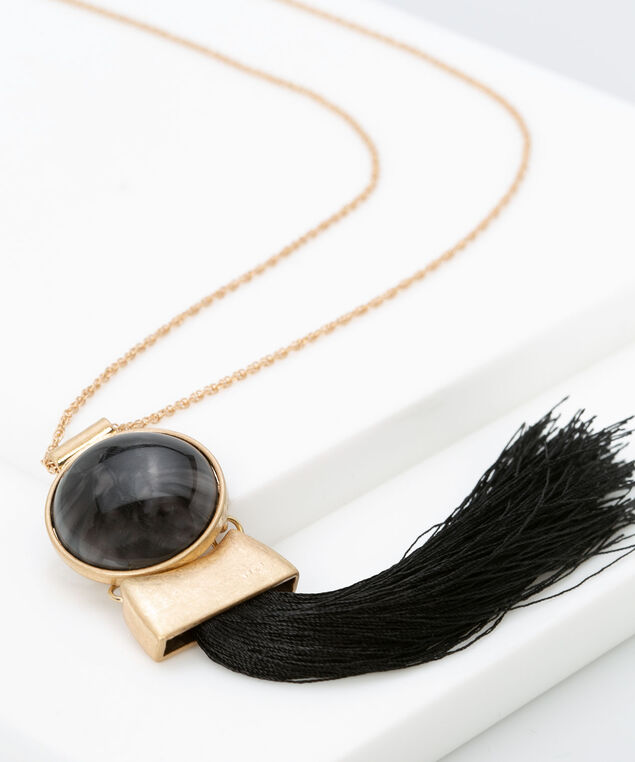 Stone and Tassel Pendant Necklace, Black, hi-res