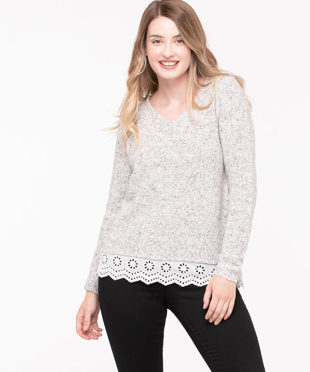 V-Neck Fooler Pullover Sweater, Light Grey/Pearl, hi-res