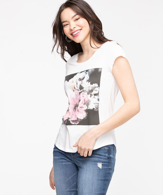 Scoop Neck Floral Graphic Tee, Snow White/Floral