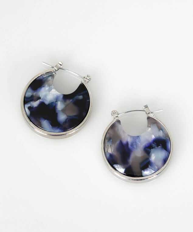 Resin Hoop Earring, Pearl/True Navy/Rhodium, hi-res