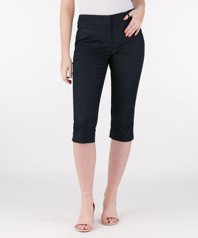 City Denim Fly-Front Capri, Blue, hi-res