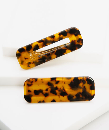 Tortoise Resin Hair Clip Set, Brown/Black/Gold, hi-res