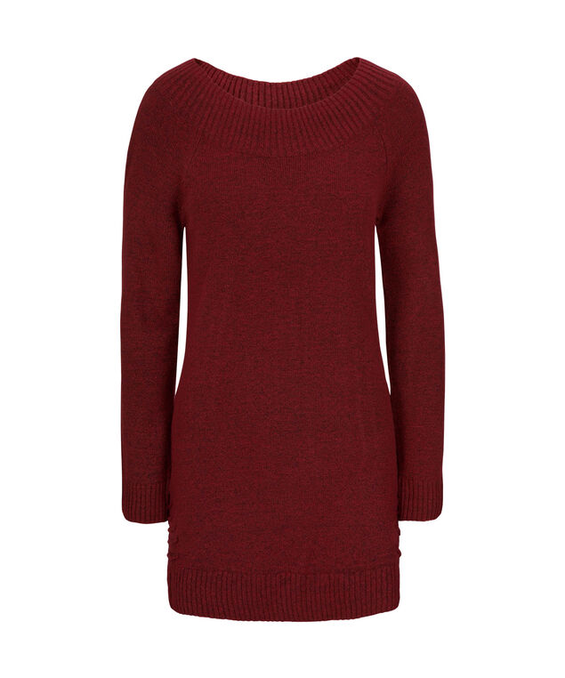 Plush Boatneck Laced Tunic Sweater, Cherry, hi-res