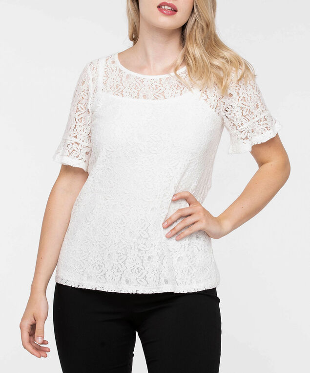 Lace Overlay Flounce Sleeve Top, Pearl, hi-res