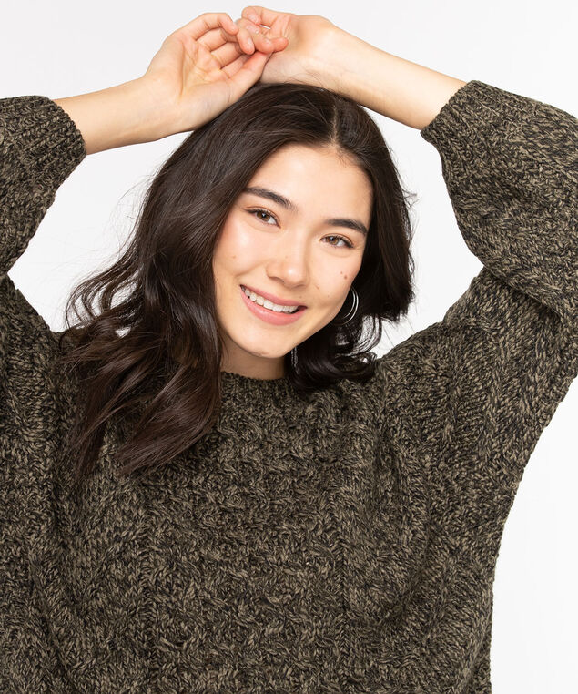 Cable Knit Cotton Blend Sweater, Olive Night