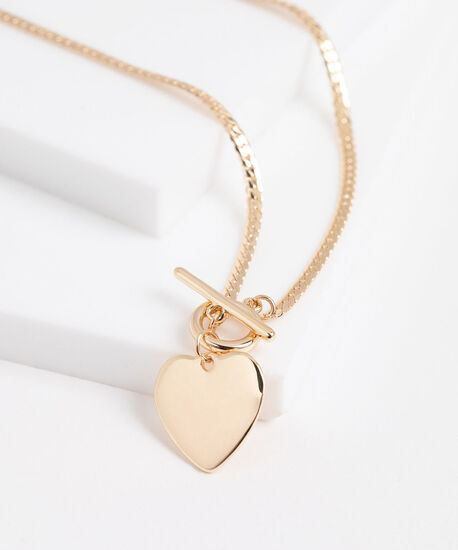 Stationed Heart Toggle Necklace, Gold, hi-res