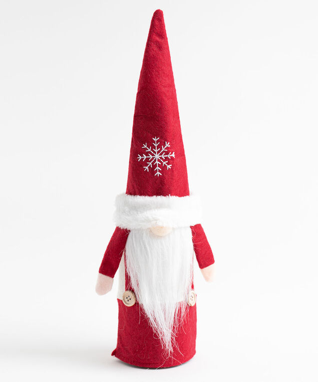 Snowflake Gnome Wine Bottle Topper, Red
