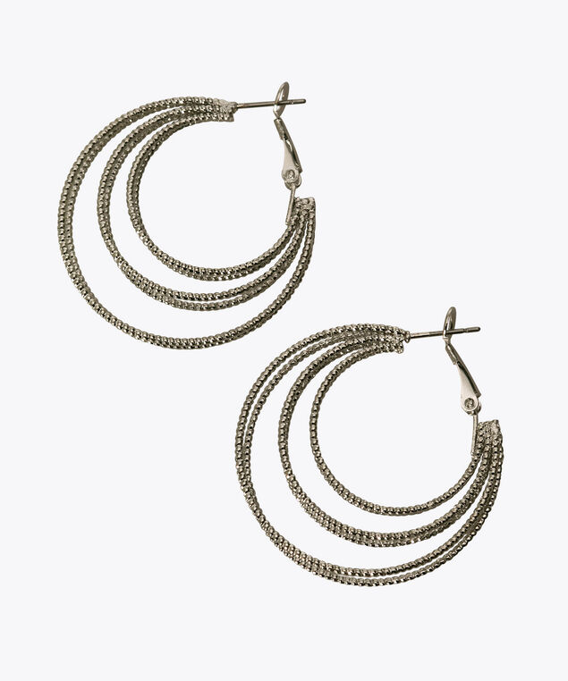 Triple Hoop Earring, Rhodium, hi-res