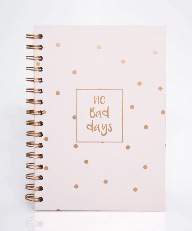 No Bad Days Spiral Notebook, Petal Pink/Rose Gold, hi-res