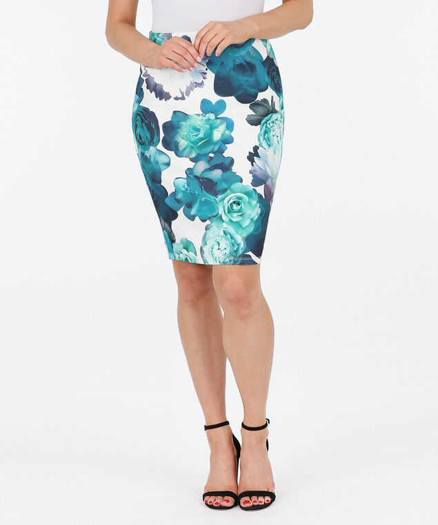 Floral Scuba Crepe Pencil Skirt, True White/Midnight Teal, hi-res
