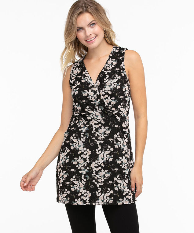 Sleeveless Mesh Wrap Tunic Top, Black/Ivory/Tapestry Floral