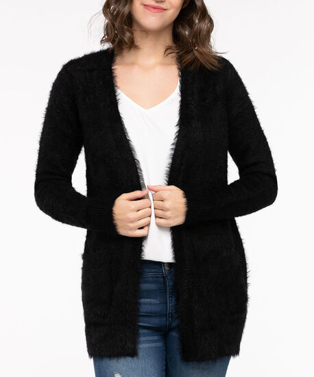 Feather Yarn Patch Pocket Open Cardigan, Black, hi-res