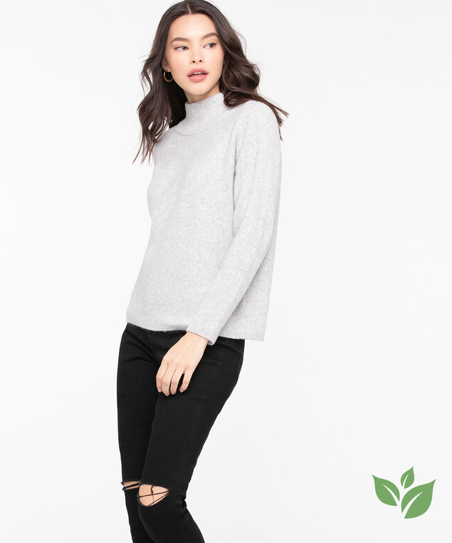Eco-Friendly Mock Neck Sweater, Light Grey, hi-res