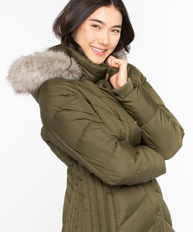 Thermolite® EcoMade Long Puffer, Olive Night, hi-res