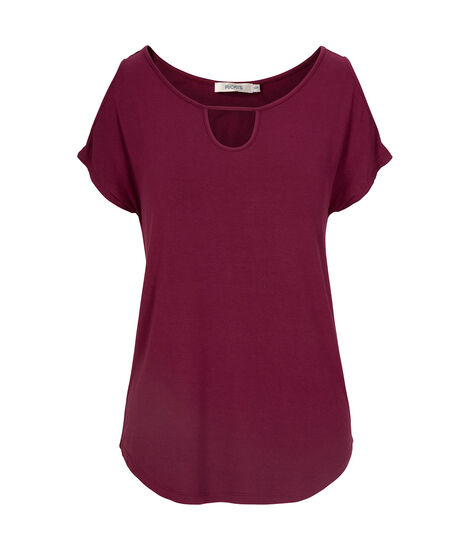 Cold Shoulder Top, Black Cherry, hi-res