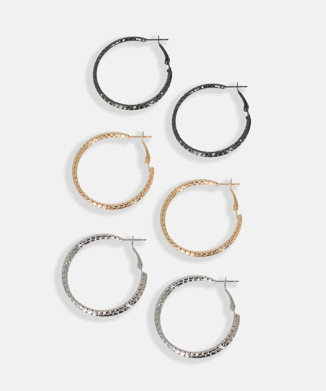 Mixed Metal Hoop Earring Set, Hematite/Rhodium/Gold, hi-res
