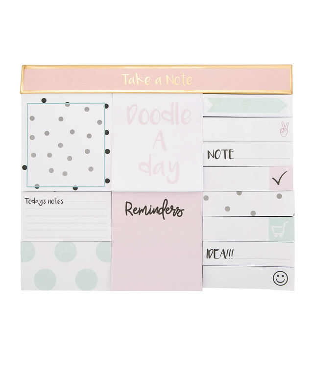 Fun Sticky Note Set, Mint/Pink/White, hi-res