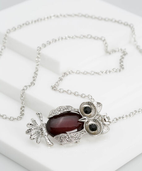 Natural Stone & Crystal Owl Necklace, Rhodium/Burgundy, hi-res