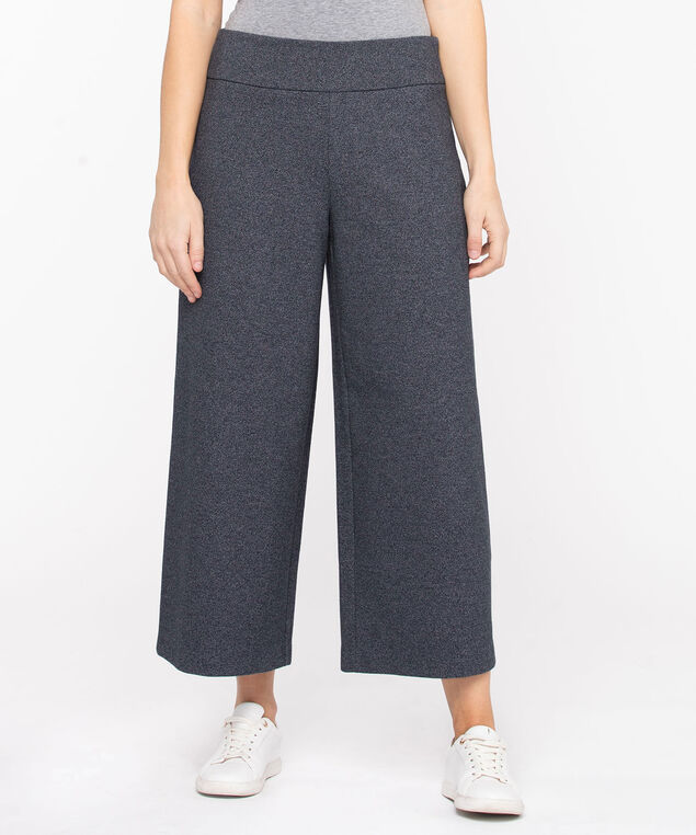 Wide Leg Knit Pant, Navy Mix