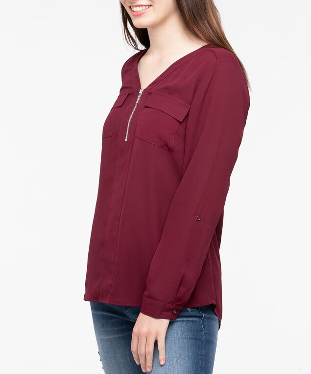 Roll Cuff Henley Blouse, Burgundy, hi-res