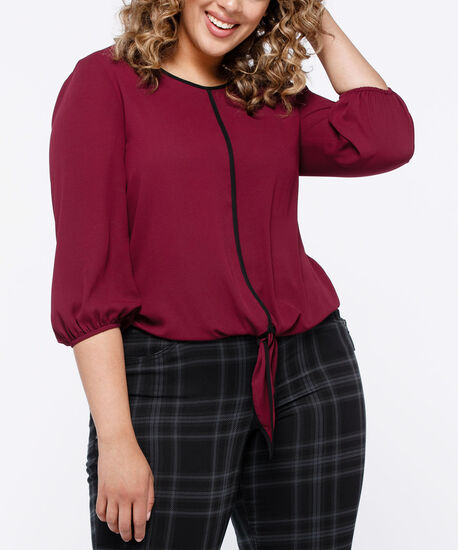 Tipped Tie Front Blouse, Burgundy/Black, hi-res