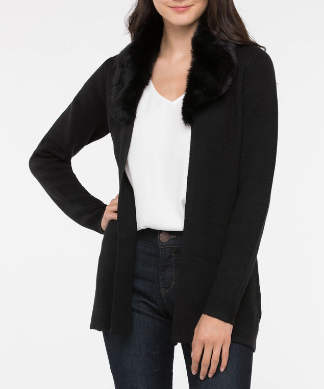 Faux Fur Trim Open Cardigan, Black, hi-res