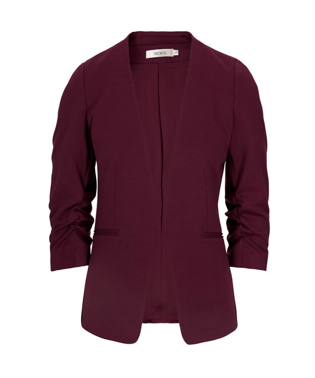 Knit Open Front Blazer, Black Cherry, hi-res