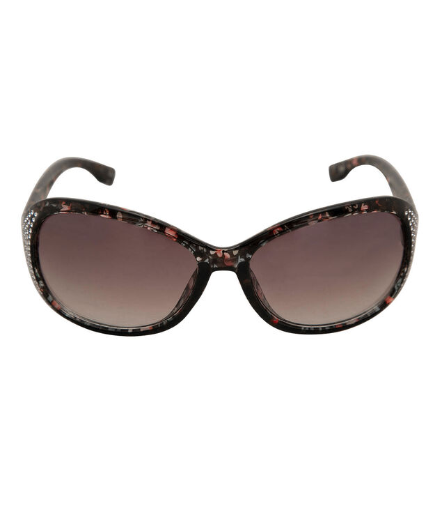 Floral Printed Rhinestone Trim Sunglasses, Red/Purple/Black, hi-res