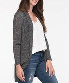 Pointelle Detail Open Cardigan, Black, hi-res
