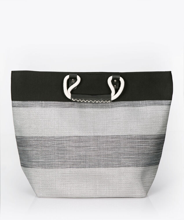 Striped Woven Tote Bag, Black, hi-res