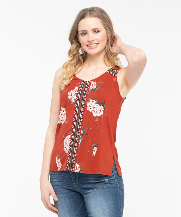Sleeveless Embroidered Trim Top, Chili/Moss/Pearl/Black, hi-res