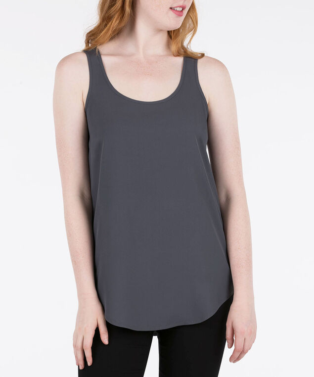 Scoop Neck Woven Layering Cami, Grey, hi-res