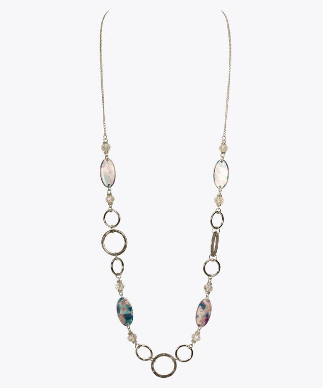 Faceted & Resin Bead Stationed Necklace, Clear/Purple/Rhodium, hi-res