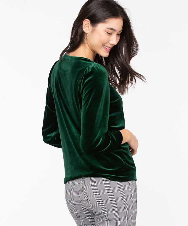 Velour Puff Sleeve Top, Emerald Green
