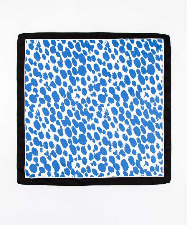 Blue Leopard Print Square Scarf, Blue/White/Black