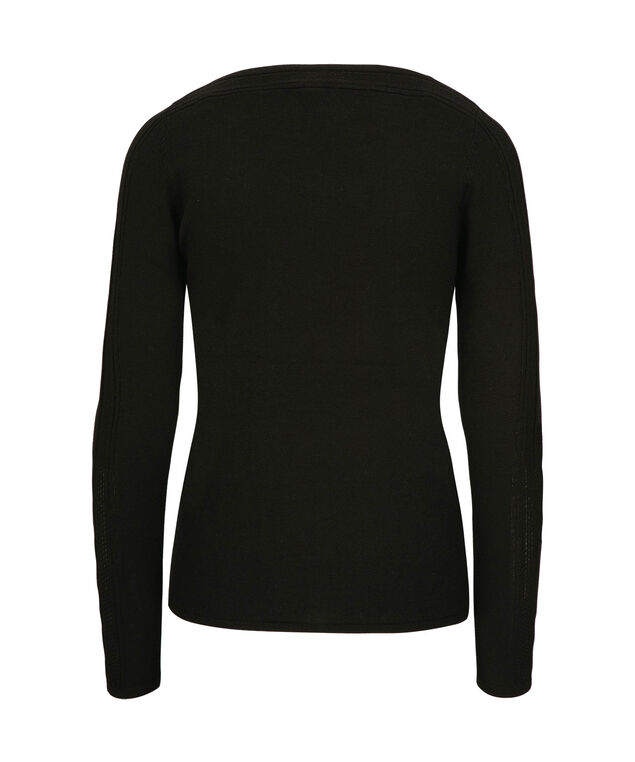 Cut-Out Sleeve Tie Front Pullover, Black, hi-res