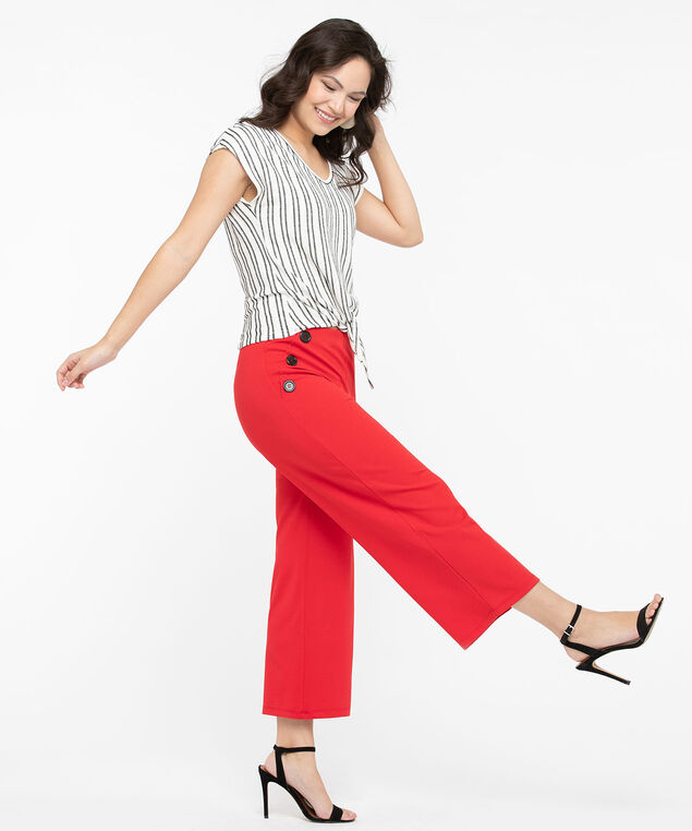 Button Trim Wide Leg Crop Pant, Hibiscus, hi-res