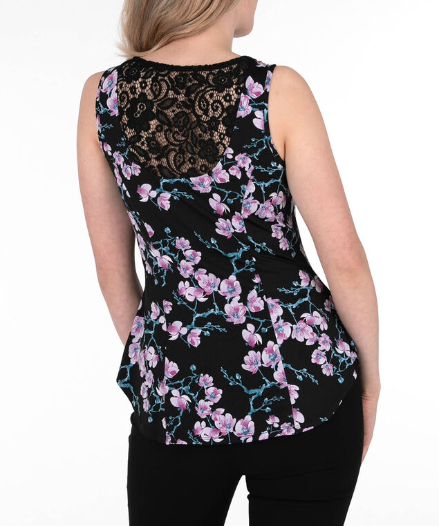 Lace-Back Sleeveless Peplum Top, Purple/Black, hi-res