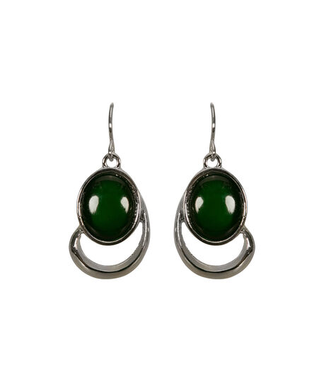 Oval Cateye Drop Earring, Jade/Rhodium, hi-res