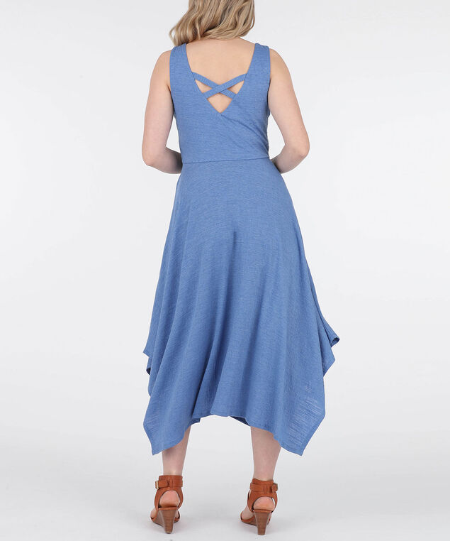 Crochet Top Sharkbite Hem Dress, Chambray, hi-res