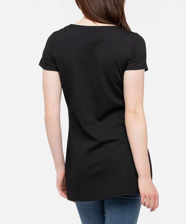 Short Sleeve Exposed Zipper Tunic, Black Mix, hi-res