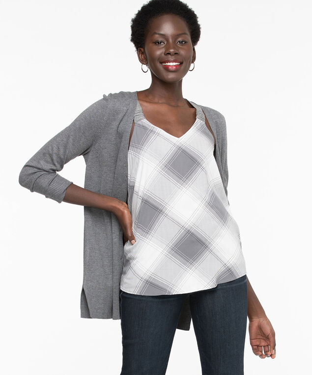 Sleeveless Mixed Media Top, Grey/Pearl