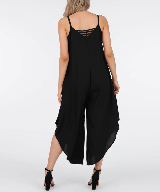 Strappy Ladder Back Challis Jumpsuit, Black, hi-res