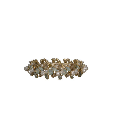 Crystal & Pearl Stretch Bracelet, White/Clear/Gold, hi-res